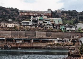 池島の炭鉱跡の景観