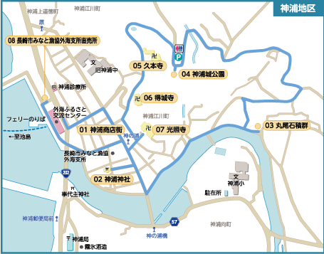 神浦散歩コース-マップ